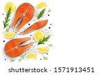 salmon red fish raw steaks ... | Shutterstock .eps vector #1571913451