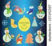 cute set of christmas and new... | Shutterstock .eps vector #157192337
