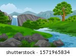 Nature Landscape With Waterfall ...