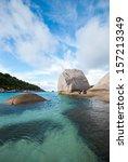 transparent blue sea  mountains ... | Shutterstock . vector #157213349