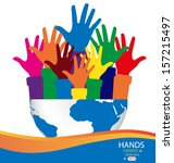 colorful raised hands and globe.... | Shutterstock .eps vector #157215497