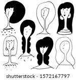 hand drawn portraits with... | Shutterstock . vector #1572167797