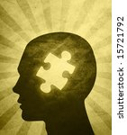 Stock photo an abstract illustration of a silhouetted head with a puzzle piece missing in the center of 15721792