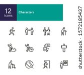 characters line icon set. old... | Shutterstock .eps vector #1572185437