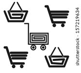 collection of carts and baskets ... | Shutterstock .eps vector #157219634