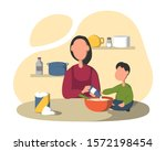 cooking together in the kitchen.... | Shutterstock .eps vector #1572198454