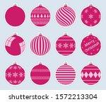 magic  pink christmas balls...   Shutterstock .eps vector #1572213304