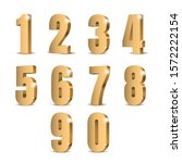 gold 3d numbers. symbol set.... | Shutterstock .eps vector #1572222154