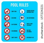 set of typical pool warning and ...