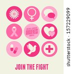 Breast Cancer Awareness card design with different symbols in pink.