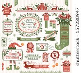 set of christmas decorative... | Shutterstock .eps vector #157230947