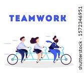 business team ride on tandem... | Shutterstock . vector #1572346951