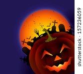 scary vector halloween design... | Shutterstock .eps vector #157236059