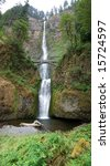 This is Multnomah Waterfalls Oregon - stock photo