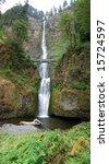 This is Multnomah Waterfalls Oregon - stock photo