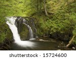 This is Upper Multnomah Falls with a Long Exposure - stock photo