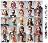 mosaic of satisfied people | Shutterstock . vector #157248584