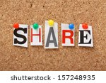 the word share in cut out... | Shutterstock . vector #157248935