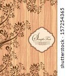 brown floral invitation card | Shutterstock .eps vector #157254365