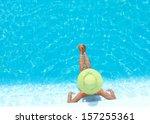 young woman in bikini wearing a ... | Shutterstock . vector #157255361