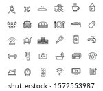 set of linear hotel icons.... | Shutterstock .eps vector #1572553987