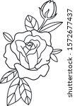 rose old school tattoo art... | Shutterstock .eps vector #1572677437