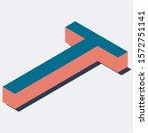 letter in t isometric view.... | Shutterstock .eps vector #1572751141