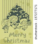 christmas vintage card with... | Shutterstock .eps vector #157277171