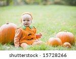 Baby Boy Outdoors In Pumpkin...