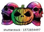 Halloween Monsters Skull...