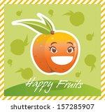 happy fruits peach | Shutterstock .eps vector #157285907