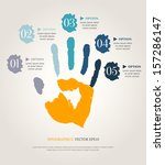 hand print with numbers.... | Shutterstock .eps vector #157286147