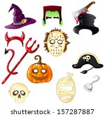 set of halloween hats and masks | Shutterstock .eps vector #157287887