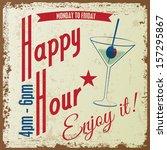 retro vintage happy hour drink... | Shutterstock .eps vector #157295867