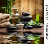 zen basalt stones and spa oil... | Shutterstock . vector #157295915