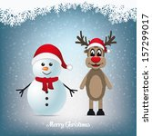 reindeer and snowman winter... | Shutterstock .eps vector #157299017