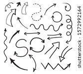 set of hand drawn doodle arrows....   Shutterstock .eps vector #1572992164