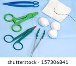 Постер, плакат: scissors forceps surgical gauze