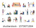people with laptops chatting... | Shutterstock . vector #1573071304