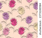 Seamless Hand Drawn Roses In...