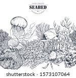 vector monochrome seamless... | Shutterstock .eps vector #1573107064
