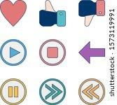 9 icon set of basic elements...