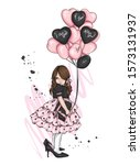 beautiful little girl in a... | Shutterstock .eps vector #1573131937