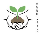 sprout in hand symbol  save the ...   Shutterstock .eps vector #1573131991