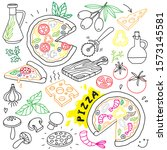 hand drawn pizza doodle... | Shutterstock .eps vector #1573145581