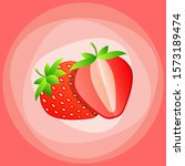 whole and slice strawberry....   Shutterstock .eps vector #1573189474
