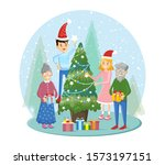 big family decorate christmas... | Shutterstock .eps vector #1573197151