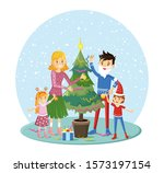 family decorate christmas tree... | Shutterstock .eps vector #1573197154