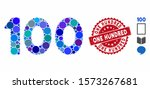 mosaic 100 digits text icon and ... | Shutterstock .eps vector #1573267681