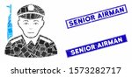 Mosaic soldier icon and rectangle Senior Airman rubber prints. Flat vector soldier mosaic icon of random rotated rectangular elements. Blue Senior Airman rubber seals with distress textures.